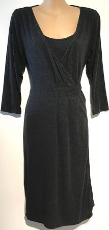 MAMALICIOUS MARLED GREY WRAP NURSING DRESS SIZE M 12